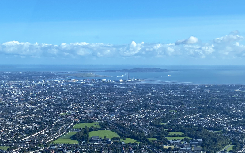 Helicopter view of Dublin City 800x500